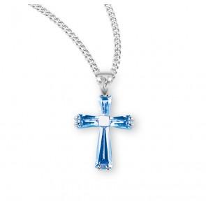 Light Sapphire Zircon Cross Pendant