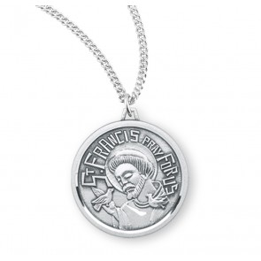 Saint Francis Round Contemporary Sterling Silver Medal