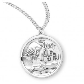 Saint Joseph the Worker Round Sterling Silver Medal