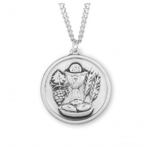 Sterling Silver Round Holy Communion Medal