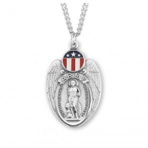 Saint Sebastian Sterling Silver Army Shield Medal