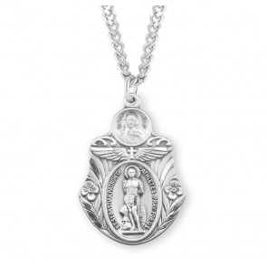 "Saint Sebastian ""Patron of Athletes"" Sterling Silver Badge Shaped Medal"