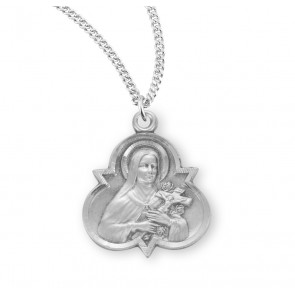 Saint Therese of Lisieux Sterling Silver Trinity Medal