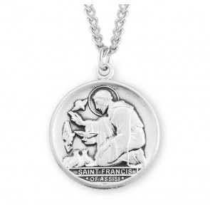 Saint Francis of Assisi Round Sterling Silver Medal