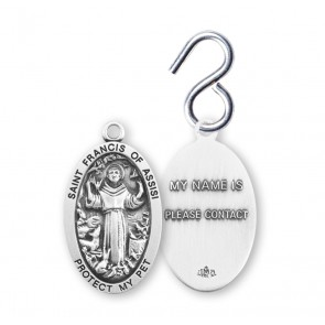 Saint Francis of Assisi Oval Sterling Silver Pet Medal
