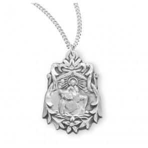 Saint Christopher Floral Bordered Sterling Silver Medal