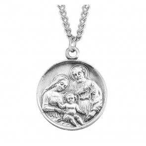 Holy Family Round Sterling Silver Medal