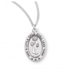 "Christ ""A Little Child"" Oval Sterling Silver Medal"