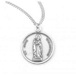 Saint Jude Thaddeus Round Sterling Silver Medal
