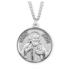 Saint Jude Round Sterling Silver Medal
