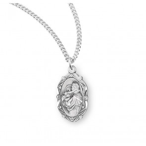 Saint Anthony Oval Sterling Silver Medal