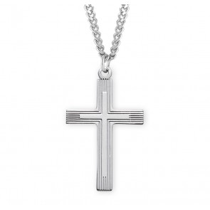 "1 1/4"" Sterling Silver Cross with 24"" Chain"