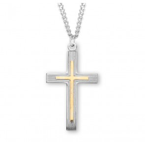 """1 1/4"""" Tutone Sterling Silver Cross with 24"""" Chain"""