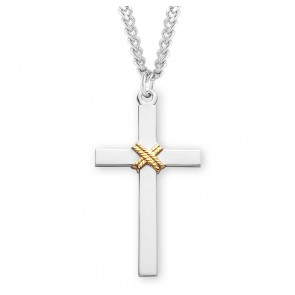 """1 5/16"""" Tutone Sterling Silver Cross with Rope 24"""" Chain"""