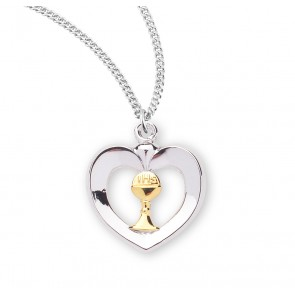 Two-Tone Sterling Silver Heart with a Chalice