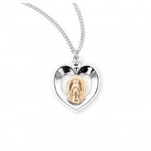 Sterling Silver Oval Two-Tone                             Miraculous Medal