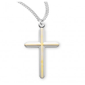 "1 1/2"" Tutone Sterling Silver Cross with 20"" Chain"