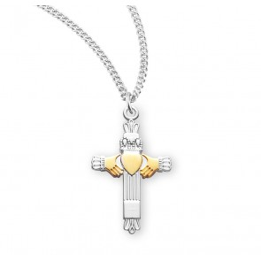 """1"""" Tutone Sterling Silver Claddaugh Cross with 18"""" Chain"""