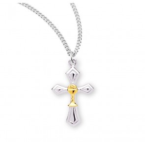 Two-Tone Sterling Silver Cross with a Chalice