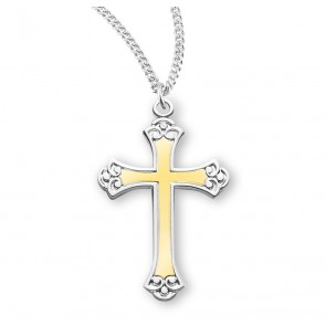 "1 1/8"" Tutone Sterling Silver Cross with Black Enamel 18"" Chain"