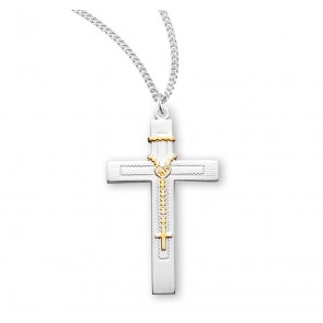 """1 1/2"""" Tutone Sterling Silver Rosary Cross with 18"""" Chain"""