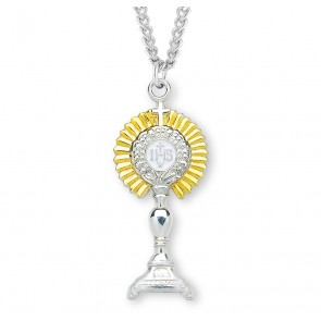 "1 7/8"" Tutone Sterling Silver Monstrance Pendant with 24"" Chain"