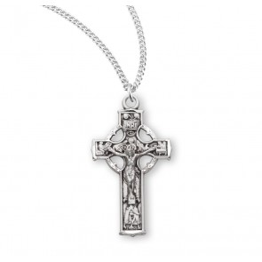 "1 1/8"" Sterling Silver Celtic Crucifix with 18"" Chain"