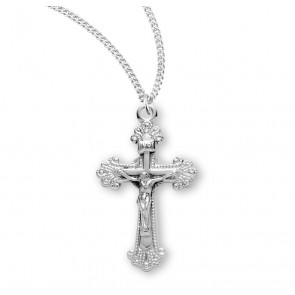 Fancy Engraved Sterling Silver Crucifix