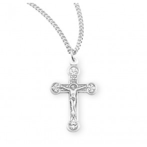 Floret Tipped Sterling Silver Crucifix