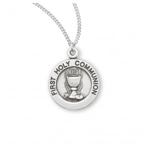 First Communion Round Sterling Silver Medal