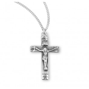Flower Tipped Sterling Silver Crucifix