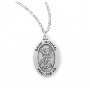 Saint Michael Archangel Oval Sterling Silver Medal