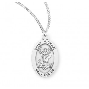 Saint Michael Archangel Oval Sterling Silver Medal