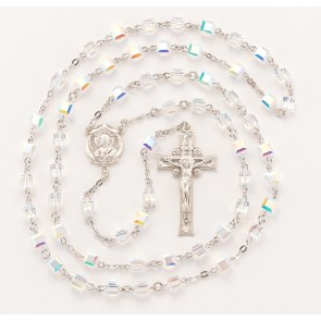 Aurora Faceted Cube Sterling Silver Rosary
