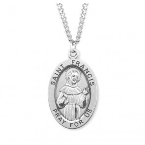 Patron Saint Francis of Assisi Oval Sterling Silver Medal