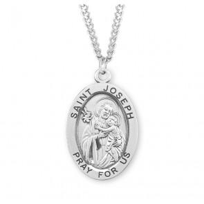 Patron Saint Joseph Oval Sterling Silver Medal