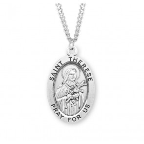 Patron Saint Therese of Lisieux Oval Sterling Silver Medal