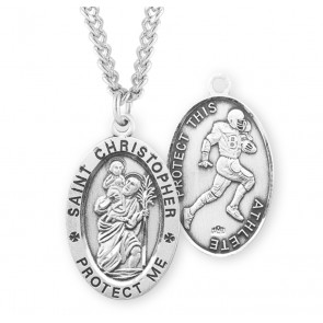 Saint Christopher Oval Sterling Silver Football Male Athlete Medal