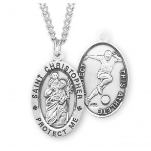 Saint Christopher Oval Sterling Silver Soccer Male Athlete Medal