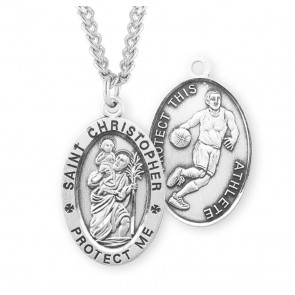 Saint Christopher Oval Sterling Silver Basketball Male Athlete Medal