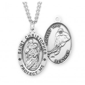 Saint Christopher Oval Sterling Silver Hockey Male Athlete Medal