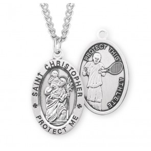Saint Christopher Oval Sterling Silver Tennis Male Athlete Medal