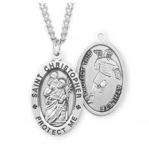 Saint Christopher Oval Sterling Silver Lacrosse Male Athlete Medal