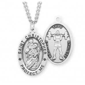 Saint Christopher Oval Sterling Silver Weight Lifting Male Athlete Medal