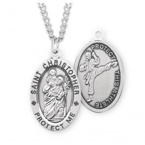 Saint Christopher Oval Sterling Silver Martial Arts Athlete Medal