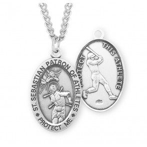 Saint Sebastian Oval Sterling Silver Baseball Male Athlete Medal