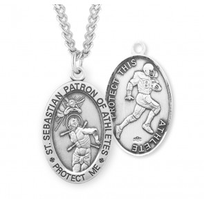 Saint Sebastian Oval Sterling Silver Football Male Athlete Medal
