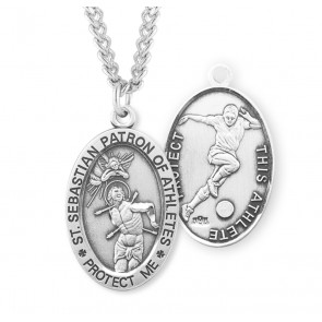 Saint Sebastian Oval Sterling Silver Soccer Male Athlete Medal