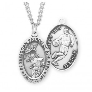 Saint Sebastian Oval Sterling Silver Basketball Male Athlete Medal