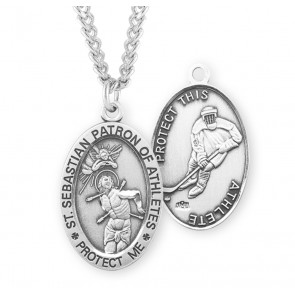 Saint Sebastian Oval Sterling Silver Hockey Male Athlete Medal